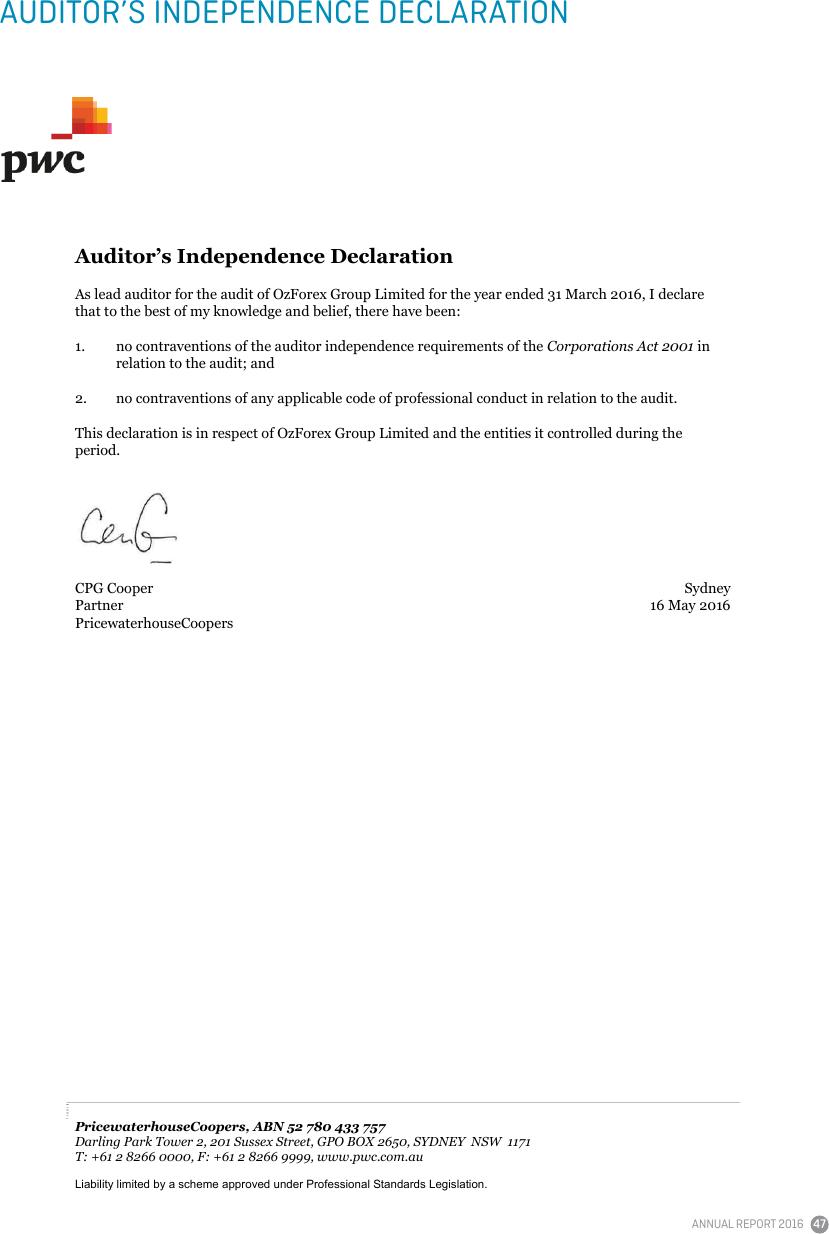 Auditor's Independence Declaration | Home
